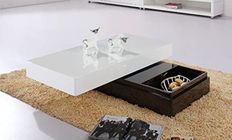 Modern Black and White Coffee Table w/ Storage