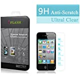 iFlash® Premium Tempered Glass Screen Protector: Crystal Clear & Bubble Free 0.3mm thickness edition - For Apple iPhone 4S/4 - Retail Packaging