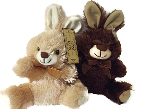 "Gift Giving Chocolate Scented Plush 7"" Sitting Bunny Rabbit Bundle - 2 Items: 1 Brown Bunny and 1 Tan Bunny"