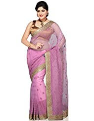 Utsav Fashion Women's Light Pink Net Saree With Blouse
