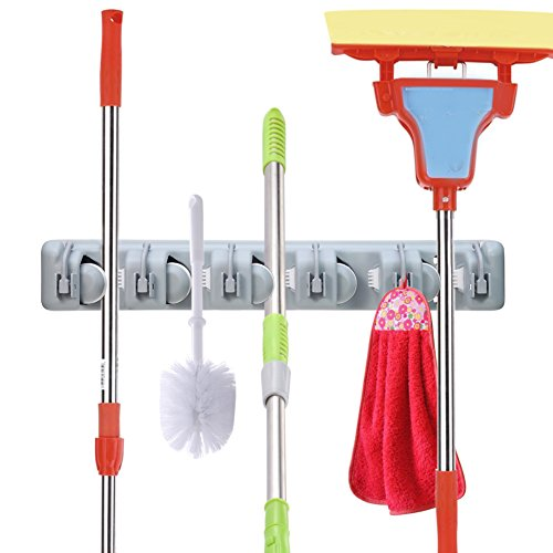 OuTera Broom Mop Holder Wall Mounted 5 Position Tool Storage Tool Rack  Utility Holder Home Organization Storage Solutions Kitchen Tool Organizer  For Closet ...
