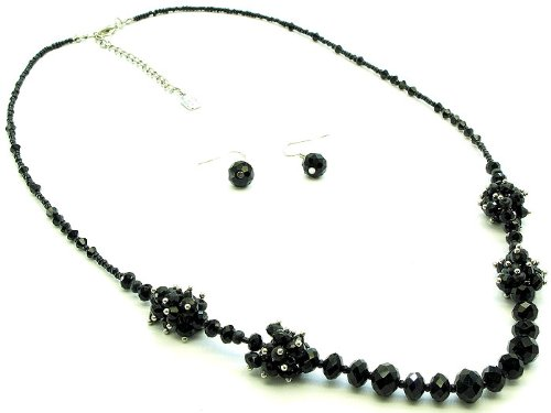 NECKLACE AND EARRING SET SEED STRAND GLASS BEAD BLACK Fashion Jewelry Costume Jewelry fashion accessory Beautiful Charms