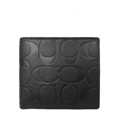 Coach   Coach Black Embossed Double Billfold Bifold Mens Coin Wallet 74531