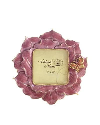 Ashleigh Manor 3″ x 3″ Enamel Floral Butterfly Frame, Pink
