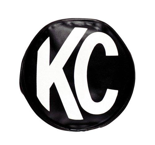 "Kc Hilites 5800 8"" Round Black Vinyl Light Cover W/ White Kc Logo - Set Of 2"