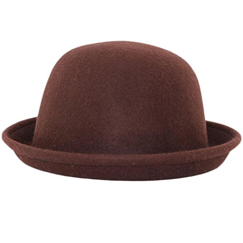 Koly Women Men Couple Dome Woolen Hemming Winter Warm Formal Bowler Hat (Coffee)