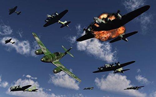 A German Me 262 jetfighter attacking B-17 Flying Fortress bombers. 24 x 30 Poster