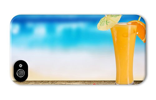 Cute Iphone 4 Case Popular Cover Cocktail Of Orange Juice Pc 3D For Iphone 4/4S front-1072995