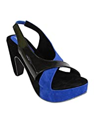 Bellafoz Stylish Black & Blue Wedges For Women