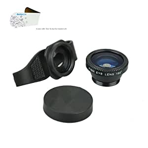 Action1st 3-in-1 Universal Clip on Detachable Wide Angle+Macro+Fish-eye Lenses Kit for iPhone 4 4S 4G 5 5S 5C 6/6 Plus Samsung Galaxy S2 I9100 S3 I9300 S4 I9500 S5 S6 Note1/2/3/4,BlackBerry Nexus LG Motorola and Most Smart Phone (Black)