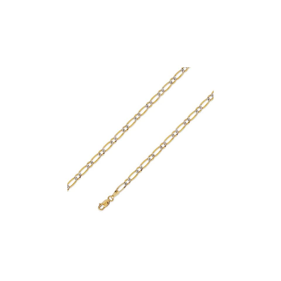 14K Solid Yellow 2 Two Tone Gold Figaro 1+1 Chain Necklace 4mm (5/32) 20