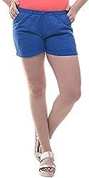 Lyla Women's Cotton Shorts (LWSA841_L, Blue, L)
