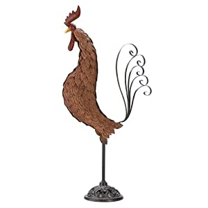 Gifts & Decor Metal Rooster Wrought Iron Outdoor Garden Yard Statue