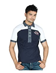 Guerrilla Navy Blue & White Cotton Collar Neck Half Sleeves Tshirt For Men | GUD39NAVYWHITE