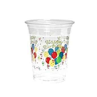 NorthWest Enterprises N122008 Partyware Soft Plastic Cup, 12-Ounce Capacity, Happy Birthday Printing (Case of 500)