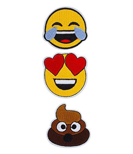six-fun-3er-set-gestickte-aufbugler-aufnaher-patches-emoji-whatsapp-smileys-mit-herz-lachend-haufen-