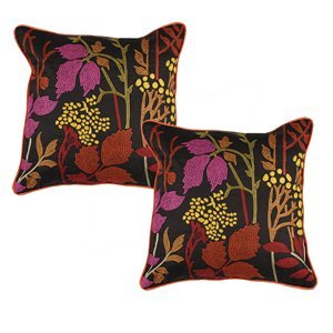 Surya P0216 2222d Cotton Pillow In Dark Chocolate Amber Fuschia Yellow Sage Orange Red