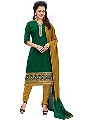 Justkartit Women's Unstitched Green & Beige Colour Office Wear Casual Smart Wear Chudidar Salwar Kameez / Casual...