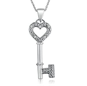 Sterling Silver and Diamond Key to Your Heart Pendant Necklace 18 in. Chain