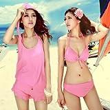 シンプル で 可愛らしく フェミニン な レディース 水着  耳栓 ・ 防水 スマホ ケース 付 (ピンク・XL)