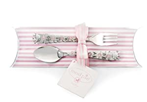 "Mud Pie Baby Princess ""Baby Girl"" Spoon and Fork Set"