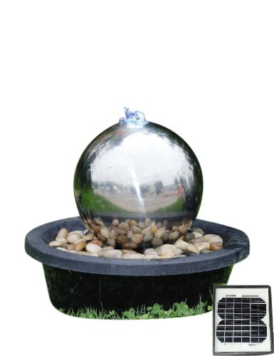 20cm Stainless Steel Solar Sphere Water Feature