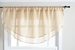 Stylemaster Elegance 60 by 24-Inch Sheer Voile Ascot Valance, Gold