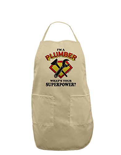 TooLoud Plumber - Superpower Adult Apron - Stone - One-Size (Plumber Apron compare prices)