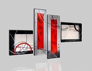 Tableau contemporain abstrait moderne peinture huile sur - Tableau rouge noir gris moderne ...