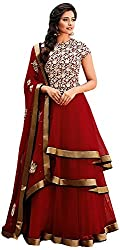 Sayshopp Fashion Women's Georgette Unstitched Salwar Suit(Red)