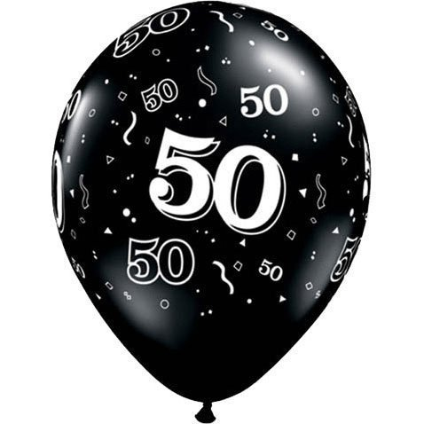 "11"" 10 Around 50th Onyx Black Latex Balloons (10 Per Package)"