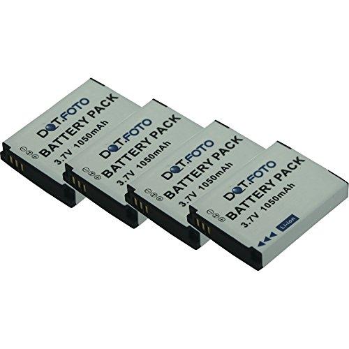 4 x Dot.Foto Qualitätsakku für SilverCrest FJ-SLB-10A mit Dot.Foto InfoChip - 3,7v / 1050mAh - Garantie 2 Jahre - 100% kompatibel [Siehe Beschreibung für die Kompatibilität]