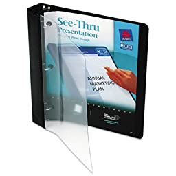 See-Thru Binder with Round Ring, 1\'\' Capacity, Black, Sold as 1 Each