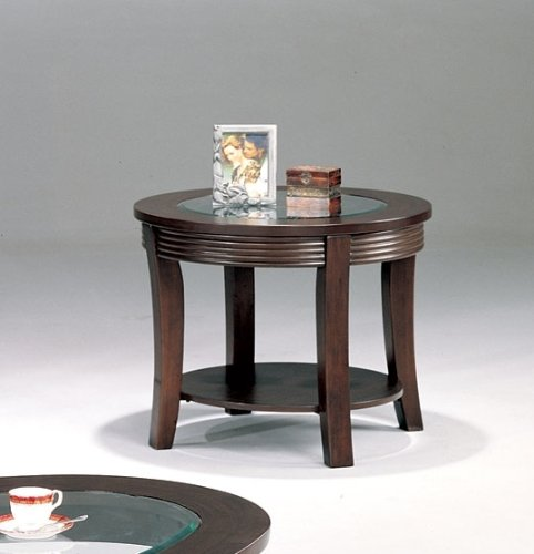 Image of Coaster Simpson Glass Top Accent End Table - Cappuccino Finish (B0076QHFWM)