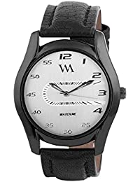 Watch Me White Dial Black Leather Watch For Men And Boys WMAL-041-W