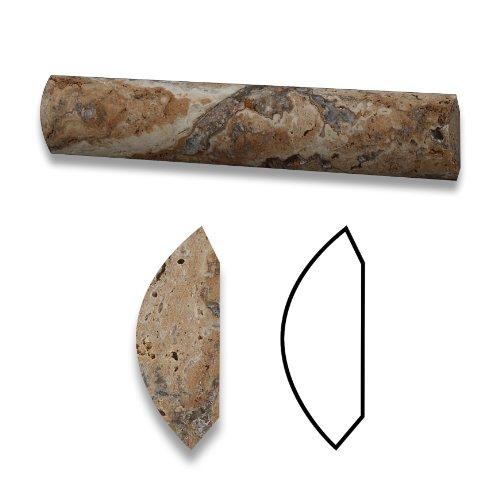 Scabos 1X6 Travertine Quarter - Round Trim Piece / Molding