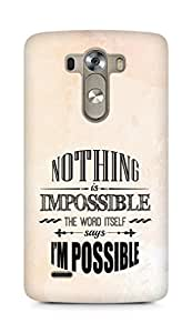AMEZ Nothing is Impossible Back Cover For LG G3