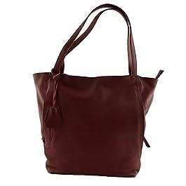 Sac Shopper En Cuir Pour Femme Rouge - Maroquinerie Fait En Italie - Sac Femme