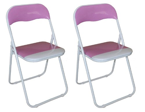 Pack of 2 x Pink and White Padded Folding Chair - Great for, Office, Desk, Poker, Spare / Extra Seating