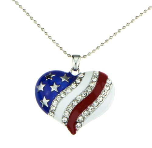 Patriotic Jewelry American Flag Red White Blue Heart Necklace Pendant Crystal Stars and Stripes