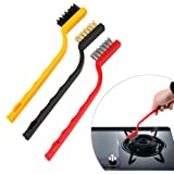 And Retails 3 Pc Mini Wire Brush Set,Cleaning Tool Kit - Brass, Nylon, Stainless Steel Bristles