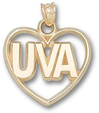 Virginia Cavaliers UVA Heart Pendant - 14KT Gold Jewelry by Logo Art