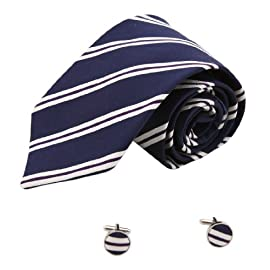 1234 Blue Striped Jewelry For Mens Silk Neckties Cufflinks Set By Y&G
