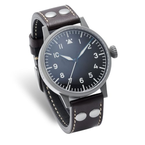 Laco 1925 Men's Quartz Watch with Black Dial Analogue Display and Brown Leather Strap 861744