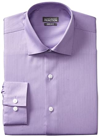 Kenneth Cole Reaction Men's Textured Solid Dress Shirt, Purple, 15.5 36-37