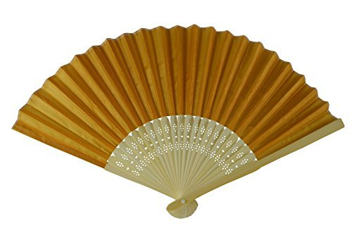 rangebow-shf18-dark-yellow-dark-gold-wholesale-silk-fabric-hand-fan-bamboo-ribs-wedding-party-favour