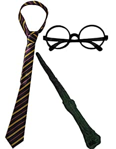 Wizard Set Fancy Dress Accessory Costume School Boy Tie + Round Wizard Glasses + Plastic Branch Wand Magician Outfit