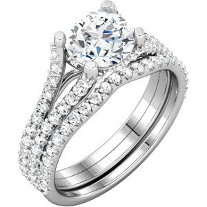14K White Gold Semi-Mount Engagement Matching Band: 1/5 CT TW