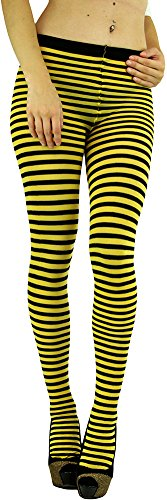 ToBeInStyle Women's Colorful Opaque Striped Tights Pantyhose Stocking Hosiery - BLACK/YELLOW - One (Black And Yellow Striped Nylon Stockings)