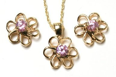 9ct Gold Pink Cubic Zirconia Daisy Pendant and Earring set.
